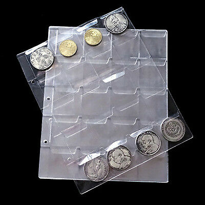 1pcs 20 Pockets Coin Holders Folder Pages Sheets For Collection Album Storage
