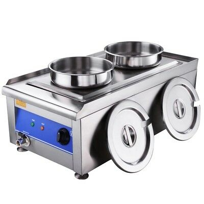 Commercial Countertop Food Warmer W/2 Pots Soup Station Steam Kitchen 1200W