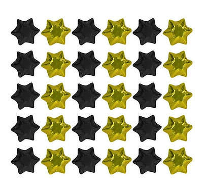 150 Black And Yellow Gold Milk Chocolate Stars - Wedding Favours Kids Parties