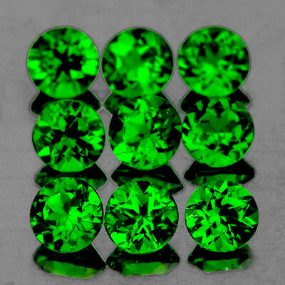 3mm ROUND 9 PIECES UNHEATED CHROME GREEN DIOPSIDE NATURAL GEMSTONE [FLAWLESS]