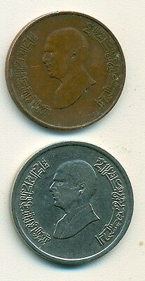 2 DIFFERENT COINS from JORDAN - 1 QIRSH & 5 PIASTRES (BOTH DATING 1996)