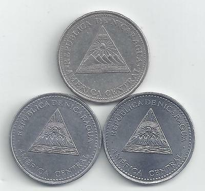 3 DIFFERENT 1 CORDOBA COINS from NICARAGUA (2002, 2007 & 2012)