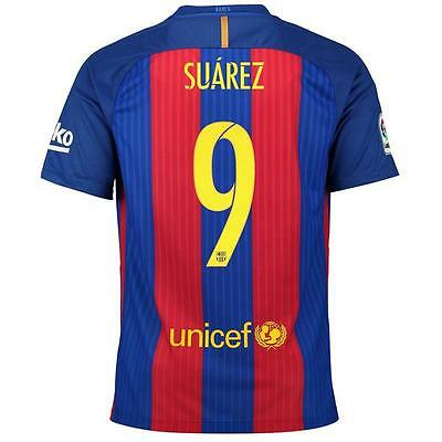Nike FC Barcelona 2016/17 Authentic Player Verion Home Jersey w/ Suarez 9