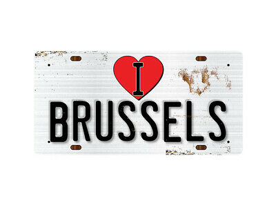 WP_ILC_007 I Love (Heart) BRUSSELS (rusty metal style design) - Metal Wall Plate