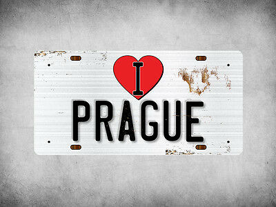 WP_ILC_029 I Love (Heart) PRAGUE (rusty metal style design) - Metal Wall Plate