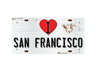 WP_ILC_032 I Love (Heart) SAN FRANCISCO (rusty metal style design) - Metal Wall