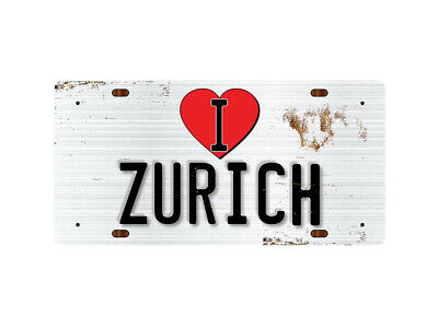 WP_ILC_042 I Love (Heart) ZURICH (rusty metal style design) - Metal Wall Plate