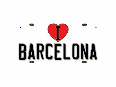 WP_ILC_128 I Love (Heart) BARCELONA (white background design) - Metal Wall Plate