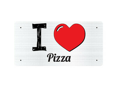WP_ILV_398 I Love (Heart) Pizza (grey metallic design) - Metal Wall Plate