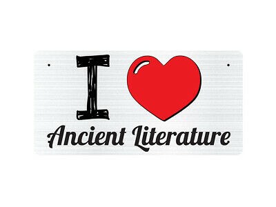WP_ILV_441 I Love (Heart) Ancient Literature (grey metallic design) - Metal Wall