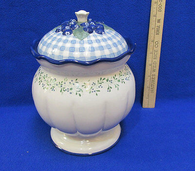 Cookie Jar Blueberry Cottage Canister Demdaco Ceramic Berry Gingham Plaid
