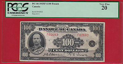 1935 French $100 Osborne Towers PCGS VF 20 BC-16 $8000 -Scarce High Denomination