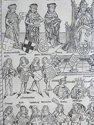 Incunable Leaf Schedel Liber Chronicorum Large Woodcut Imperator gloriosus  1493
