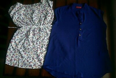 Maternity casual tops floral and blue size small lot
