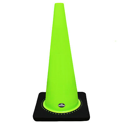 "28"" RK Lime Safety Traffic PVC Cones with Black Base, Set of 8"