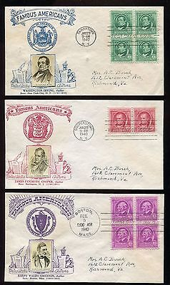 #859-863 1940 Famous American Authors FDCs Set of 5 Crosby Photo Cachets  FD3608