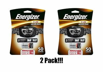 2 Pack! Energizer 3 LED Headlight Safety Headlamp AAA Light Batteries 2 Modes