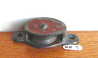 Old Antique Vintage Cast Iron Block & Tackle Single Farm Barn Pulley Part # 7