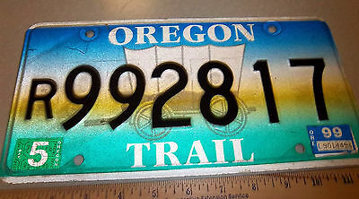 OREGON license plate, Oregon Trail w covered wagon, 1999 plate, excellent shape