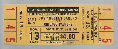 1961-62 Nba Chicago Packers @ Los Angeles Lakers Full Unused Basketball Ticket
