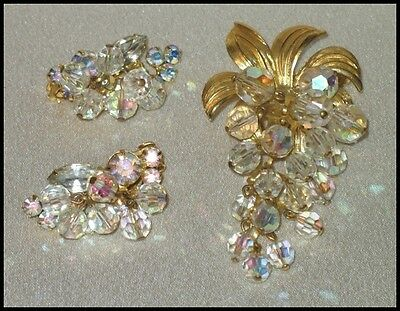 Elegant Vintage Pin & Earring Set Ab Crystals & Beads