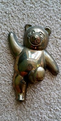 "Vintage 5"" Solid Brass Teddy Bear Coat Robe Wall Hook Hanger GRATEFUL DEAD LOOK"