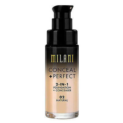 MILANI Conceal + Perfect 2-In-1 Foundation + Concealer NATURAL 02 pump NEW