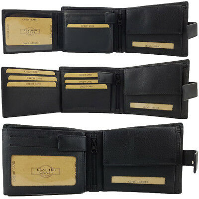RFID PROTECTED Mens Genuine Full Grain Leather Wallet 100% Cowhide