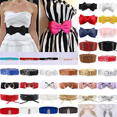 Women Ladies Elastic Bow Wide/Thin Stretch Wrap Buckle Waistband Waist Belt Band