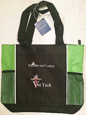 """Kooky Kat Lady"" Vet Tech embroidered Tote bag cat lovers christmas gift nurse"