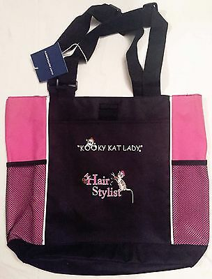 """Kooky Kat Lady"" Hair Stylist embroidered Tote bag cat lovers christmas gift"