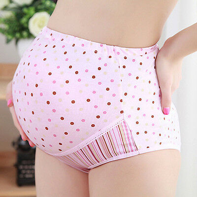 Womens Maternity Panties Dotted Briefs High-Waist Underpants Pregnant Underwear