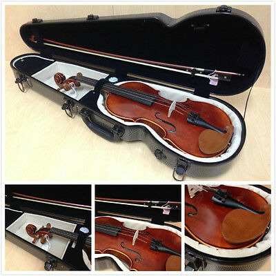 New Style Caraya Fiberglass Violin Hard Case, 4/4 Size, Carbon Plaid - Lockable