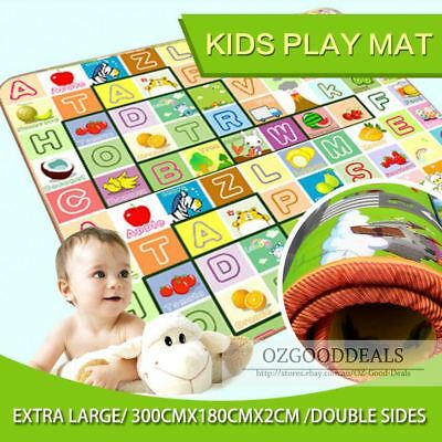 20mm Thick XXL Baby Kids Play Mat Floor Rug 3mx1.8m 2 Sides Alphabet Animal BE