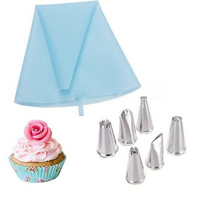Blue Pastry Bag and 6 Nozzles in Different Patterns Cake Dessert Decorator Kit