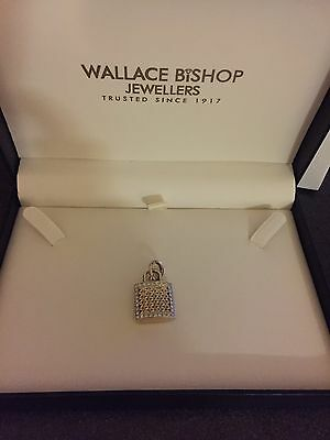 9ct Gold Diamond Padlock Enhancer TDW .30CT BNIB