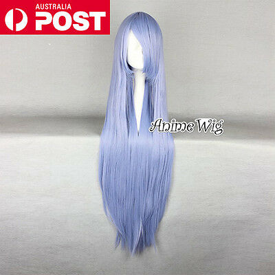 Lolita Light Blue Long 100CM Straight Fashion Party Women Cosplay Wig + Wig Cap