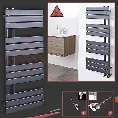 "500mm(w) x 1200mm(h) Pre-filled Electric ""Apollo"" Anthracite Towel Rail - 300W"