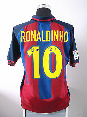 RONALDINHO #10 Barcelona Home Football Shirt Jersey 2003/04 (L)