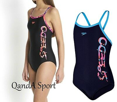 Speedo Girls Placement Thinstrap Muscleback Swimsuit Navy/Blue & Black/Pink