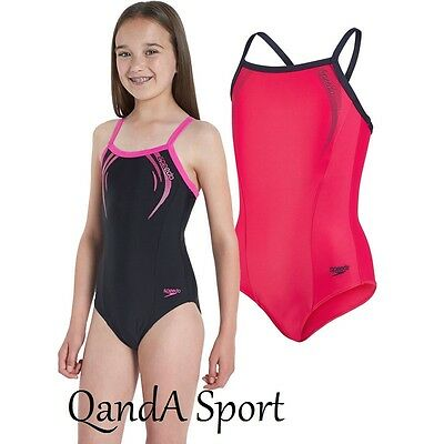 Speedo Girls Sports Logo Thinstrap Muscleback Swimsuit - Pink & Black