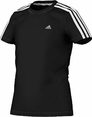 adidas Girls Boys Black Clima 365 Core T-Shirt Sports Performance Size 98 cm new