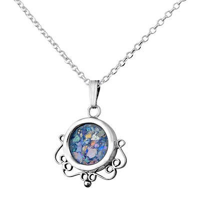 Roman Glass Sterling Silver Pendant Circular Filigree Round Necklace Women Gift