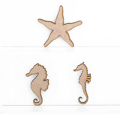 Wooden MDF Sea Horse Star Fish 3mm Thick Embellishments Decoration Craft