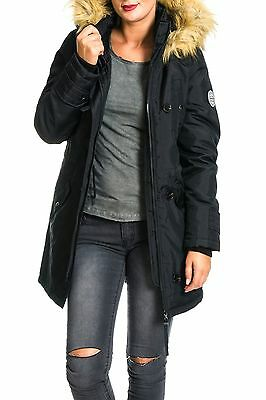 Vero Moda Jacke VMExcursion Expedition 3/4 Parka schwarz Kapuzenparka Fellkapuze