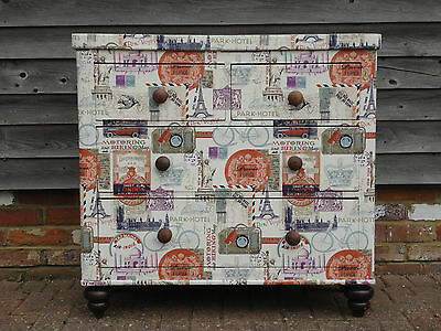Antique Victorian Shabby Chic Retro Upcycled Decoupage Chest Of Drawers