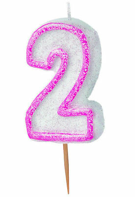 Pink Glitz Number 2 Candle - Cake Party Kids Age Birthday Glitter