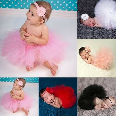 Lovely Newborn Baby Girls Toddler Kids Flower Hairband+Tutu Skirt Photo Prop B9