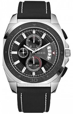 Guess Men's Chronograph Leather Watch W17525G1 Black