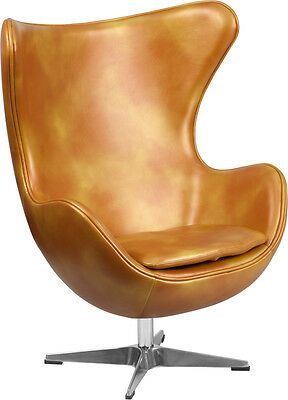 Flash Furniture Gold Leather Egg Chair with Tilt-Lock Mechanism